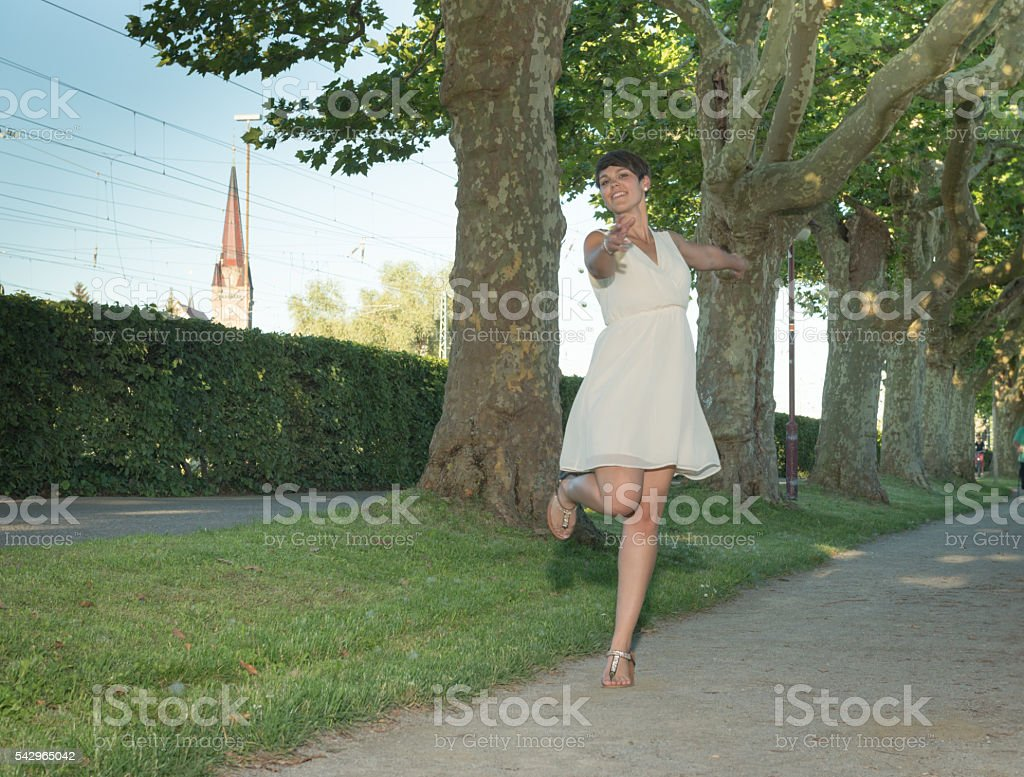 Beauty dancing at promenade radolfzell - other perspective stock photo