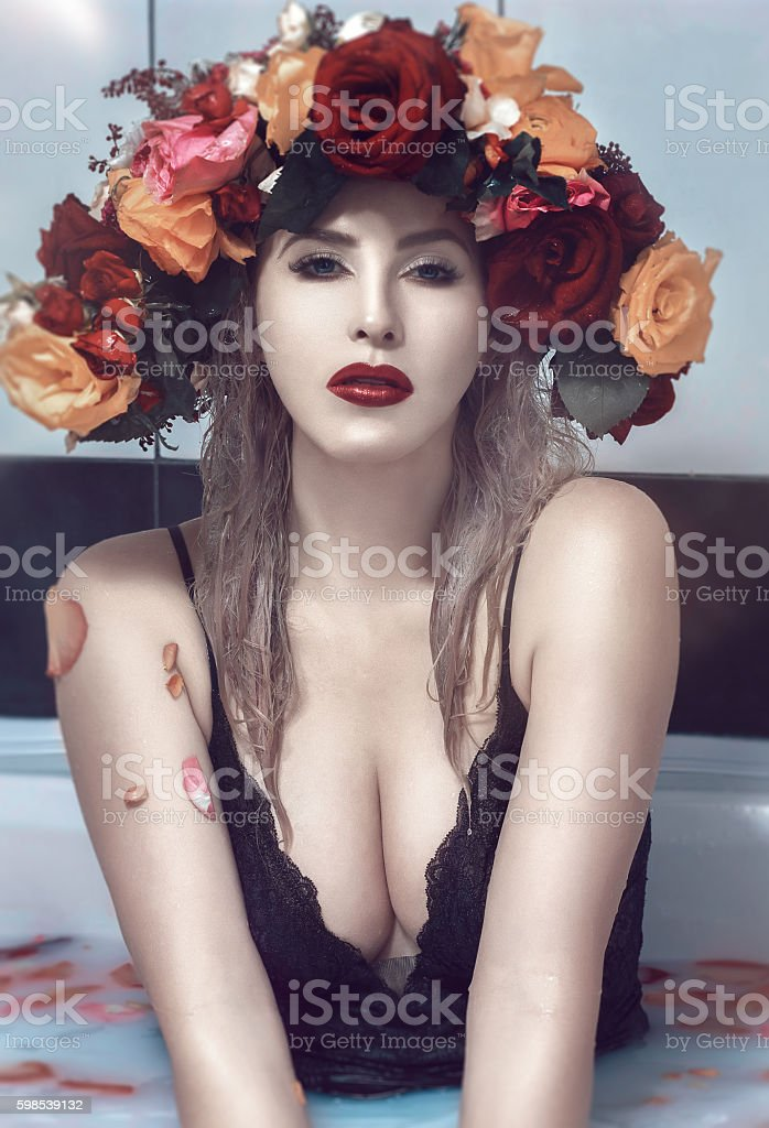 beauty, emotion and relax stock photo