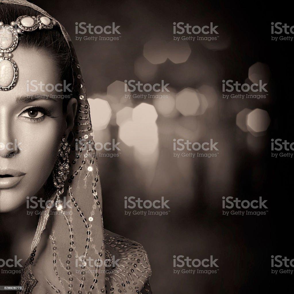 Beauty Ethnic Woman Face. Monochrome Portrait stock photo