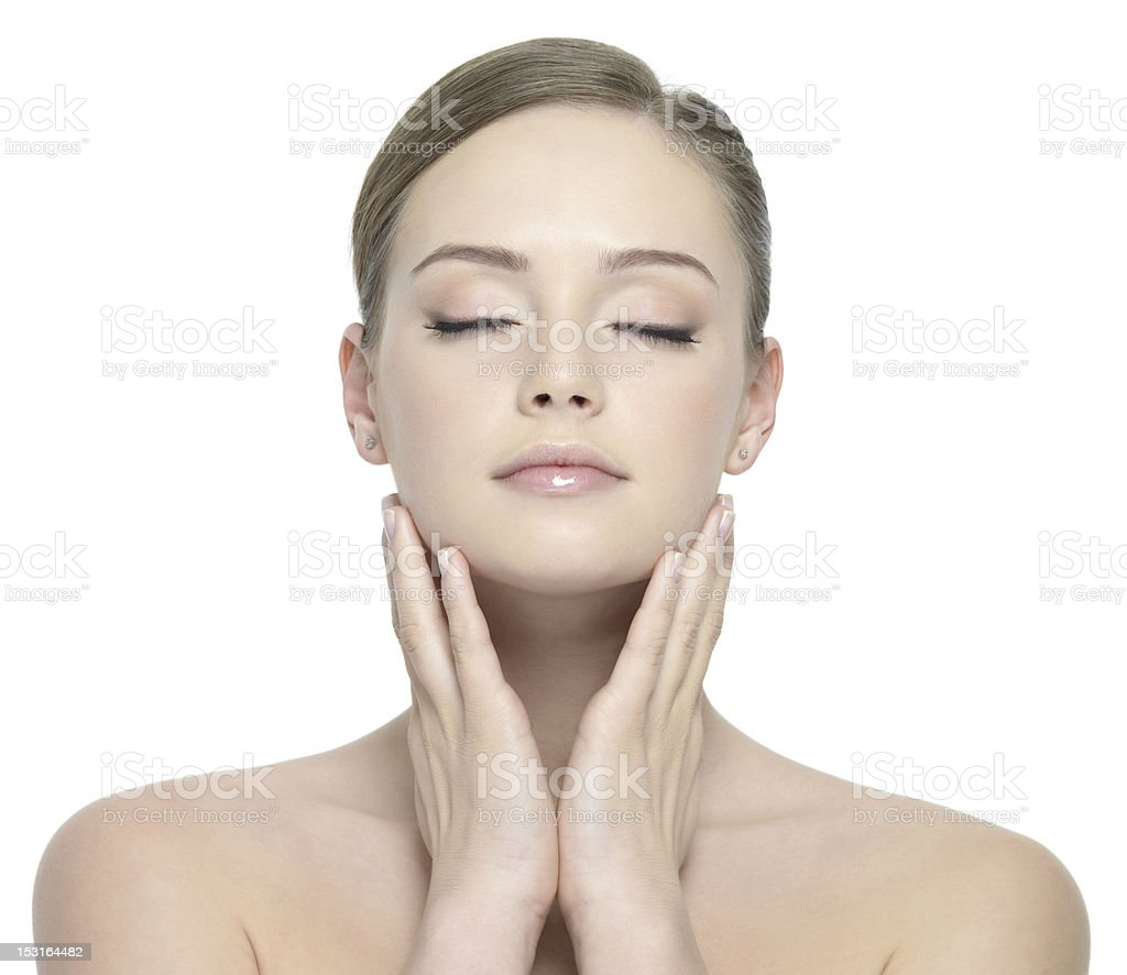 Beauty face of woman with closed eyes royalty-free stock photo