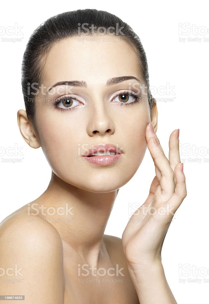 Beauty face of young woman. Skin care concept. royalty-free stock photo