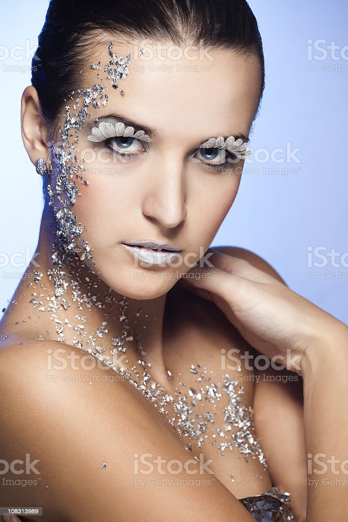 Beauty Face with Silver Makeup royalty-free stock photo