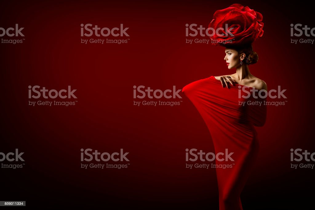 Beauty Fashion Model and Rose Flower Hairstyle, Elegant Art Woman Red...