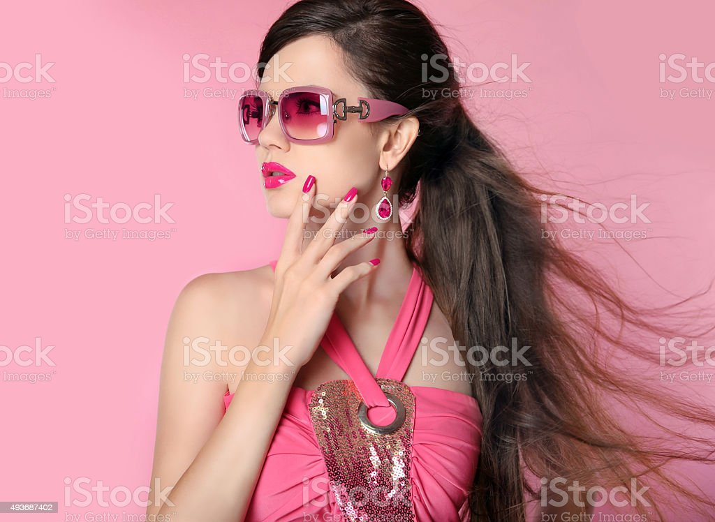 Beauty fashion model girl in sunglasses with bright makeup stock photo