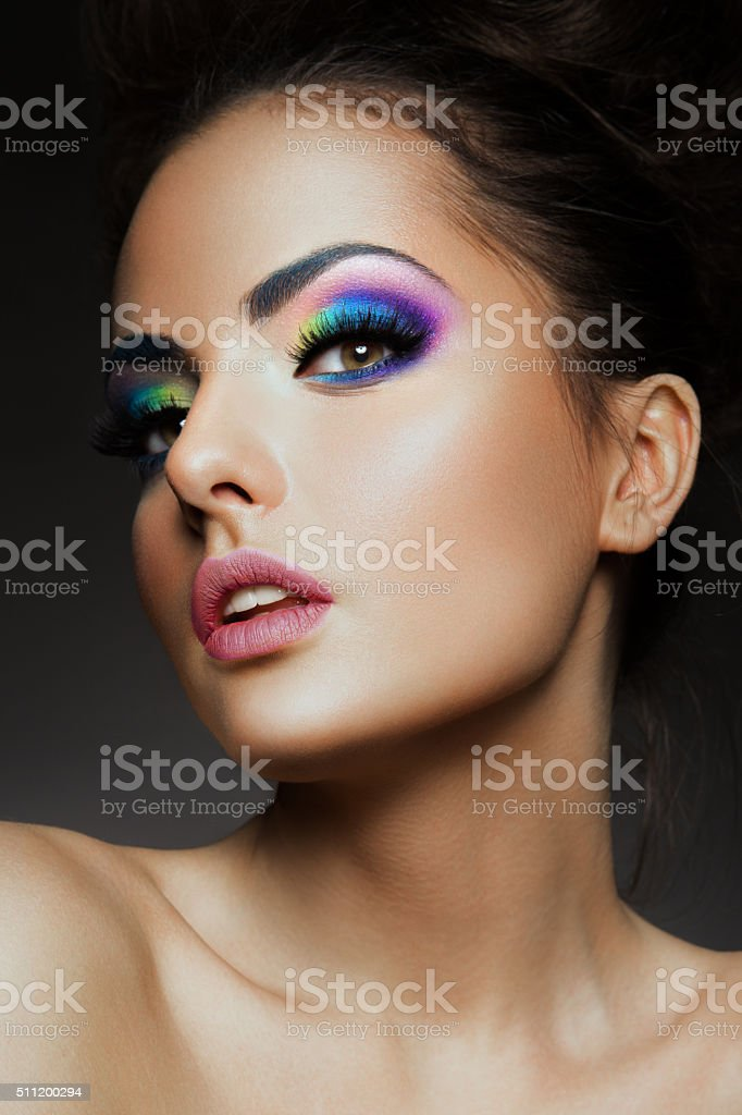 Beauty fashion model girl with bright makeup stock photo