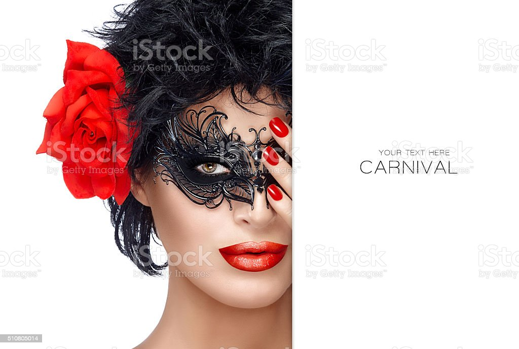 Beauty Fashion Woman with Elegant Mask. Red Lips and Manicure stock photo