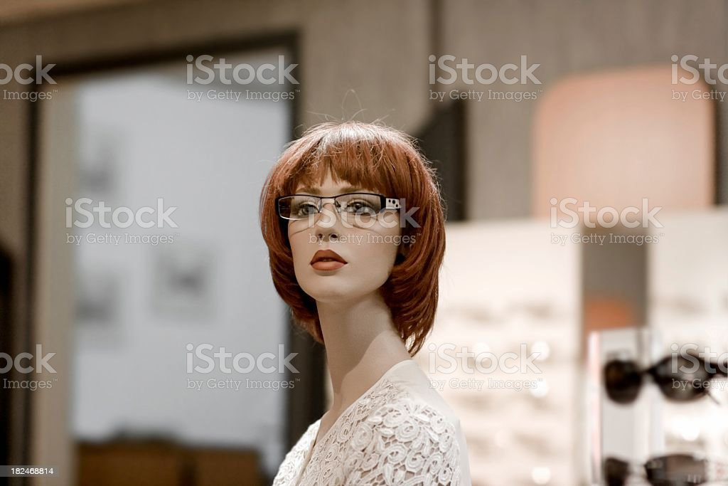 beauty female dummy with glasses stock photo
