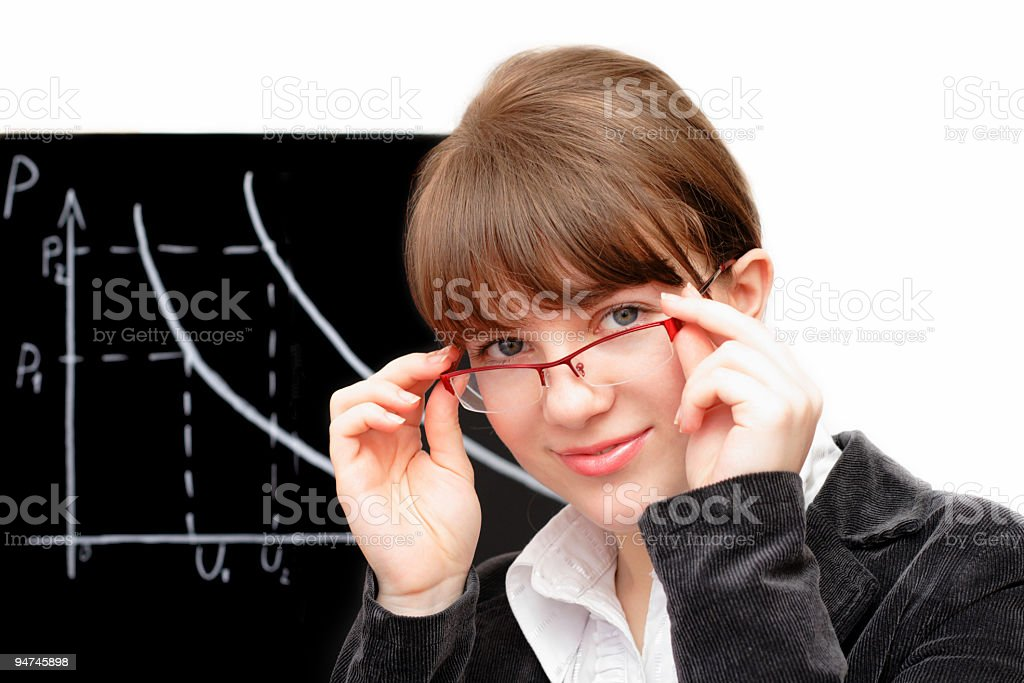 beauty female student and blackboard 2 royalty-free stock photo