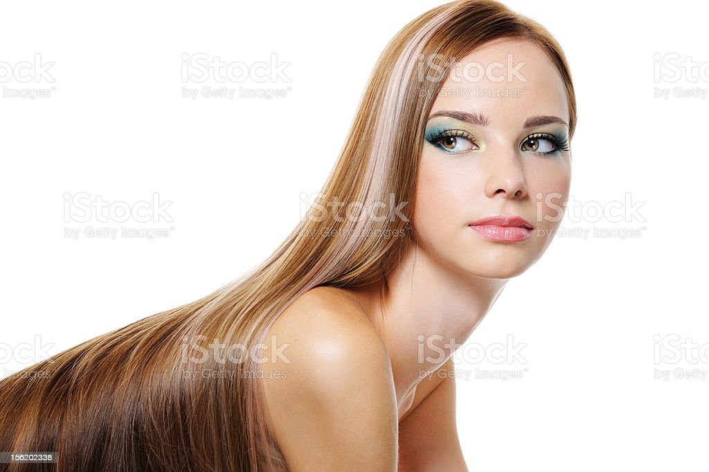 Beauty female with long smooth luxuriant hair royalty-free stock photo