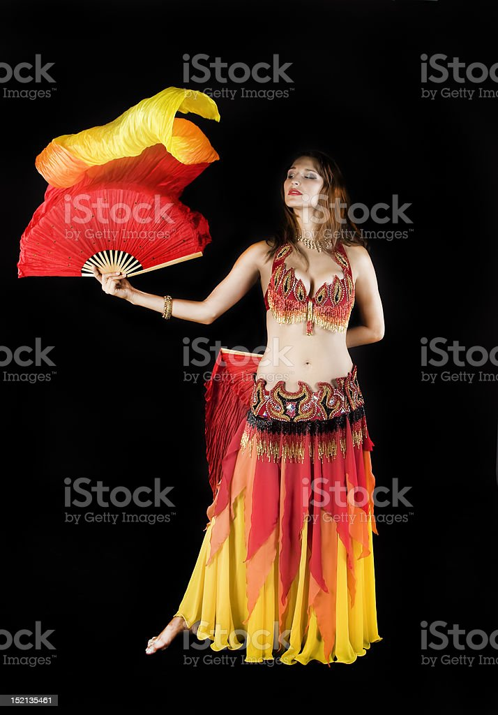 Beauty girl dance with flag stock photo