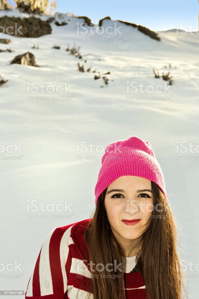 Beauty girl in snow stock photo