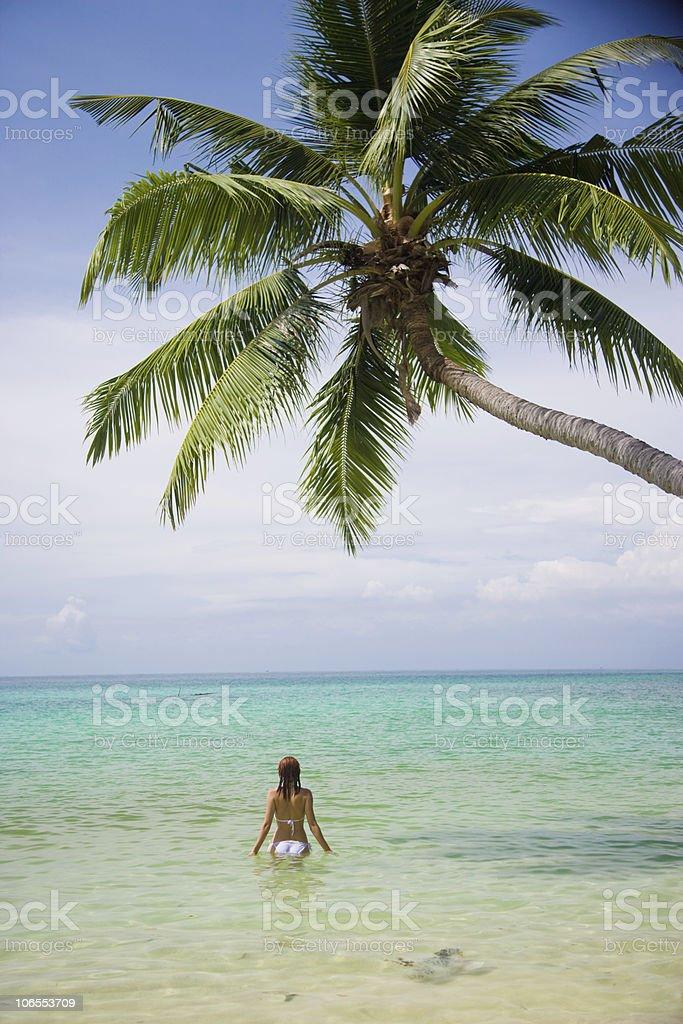 beauty girl on sea background royalty-free stock photo