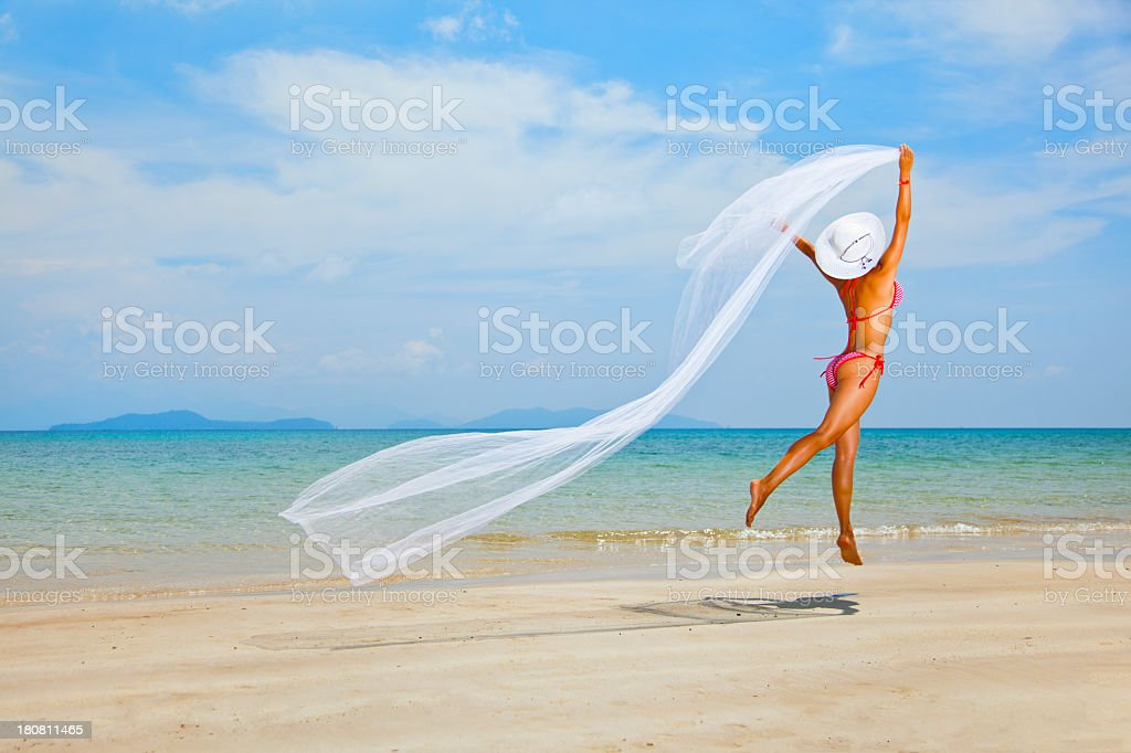 beauty girl on the beach royalty-free stock photo