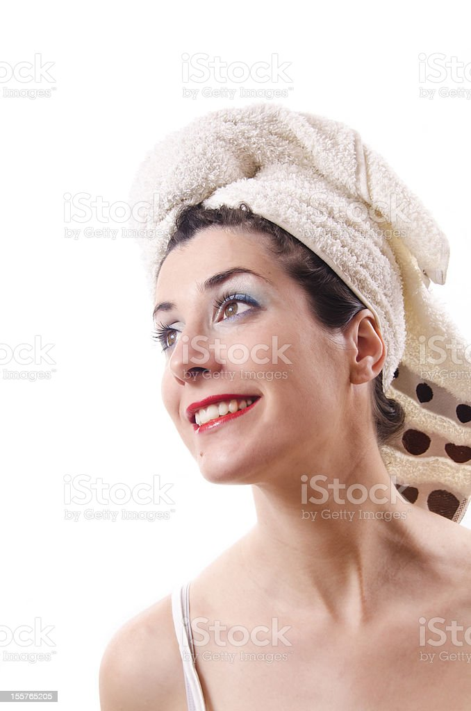 Beauty girl ready for Hairdresser royalty-free stock photo