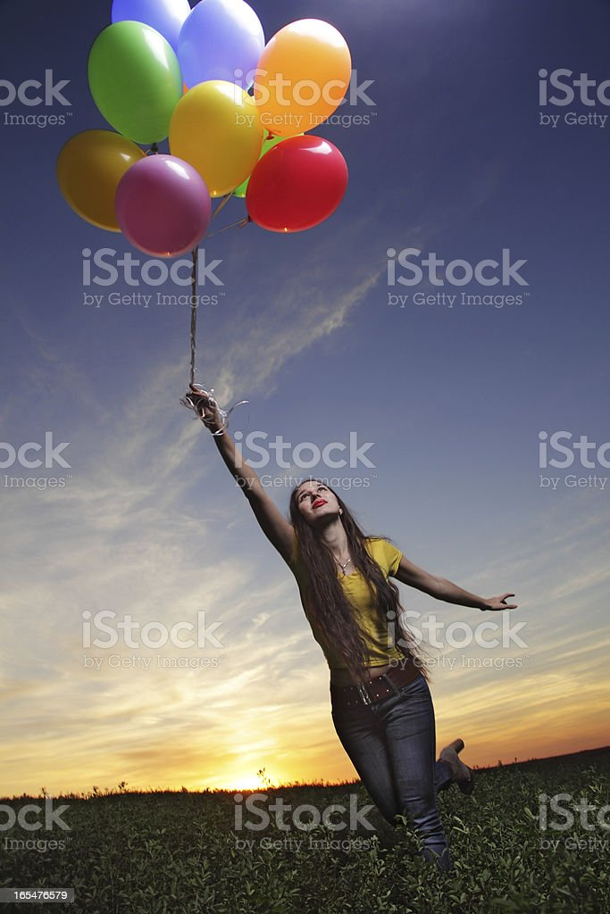 beauty girl with balloon outdoors royalty-free stock photo