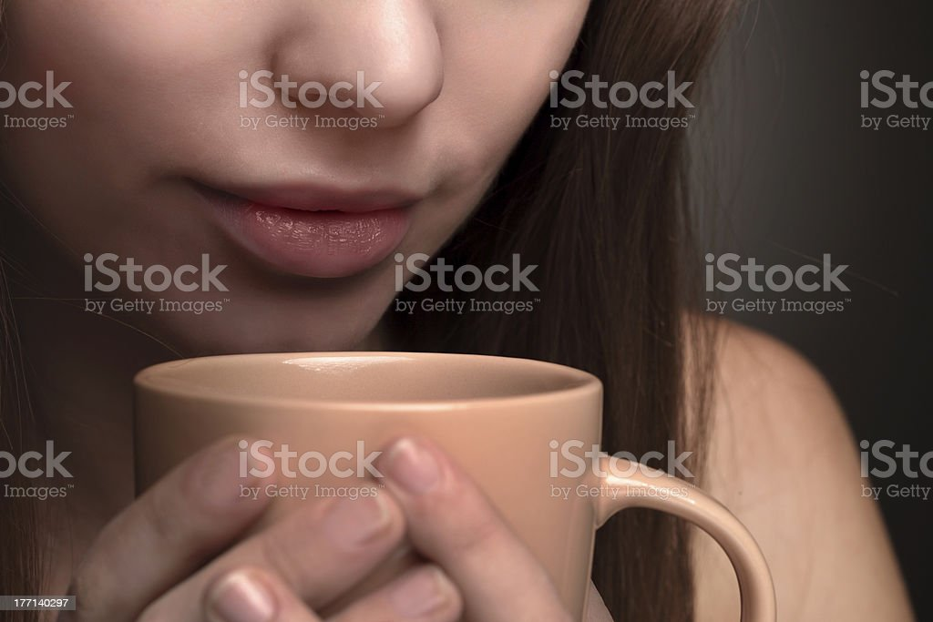 Beauty girl with coffee cup royalty-free stock photo