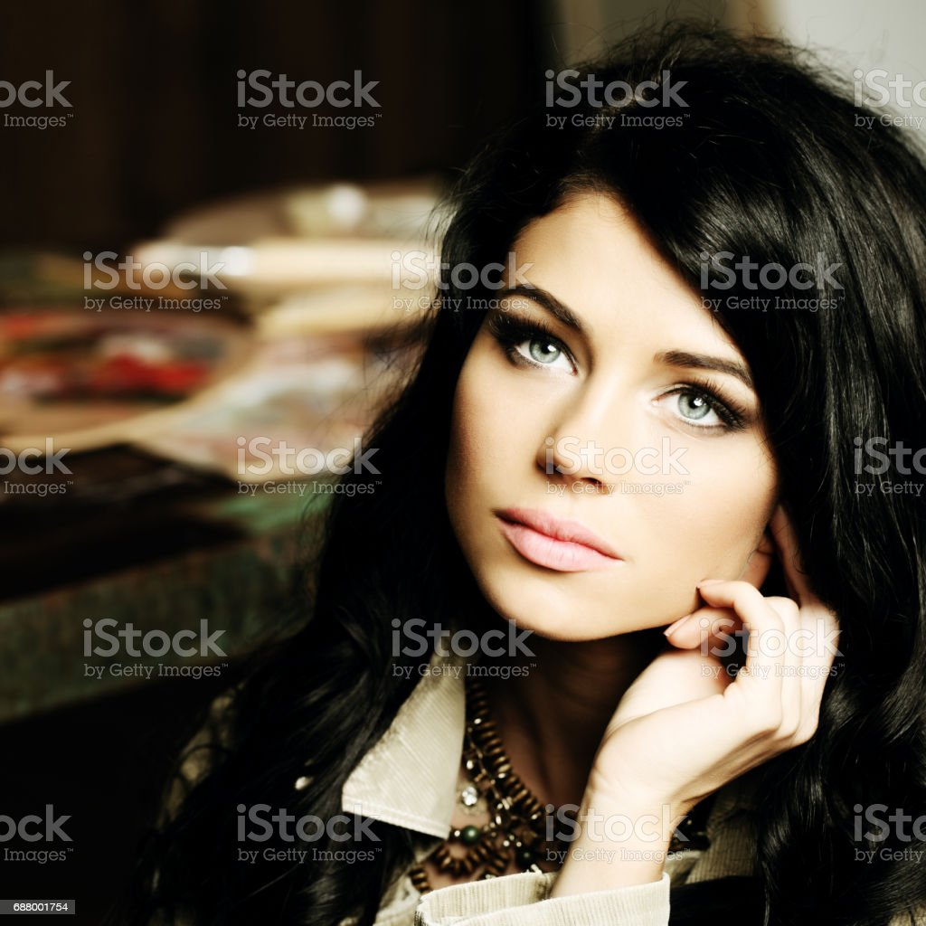 Beauty girl with long brown hair, young sensual woman stock photo