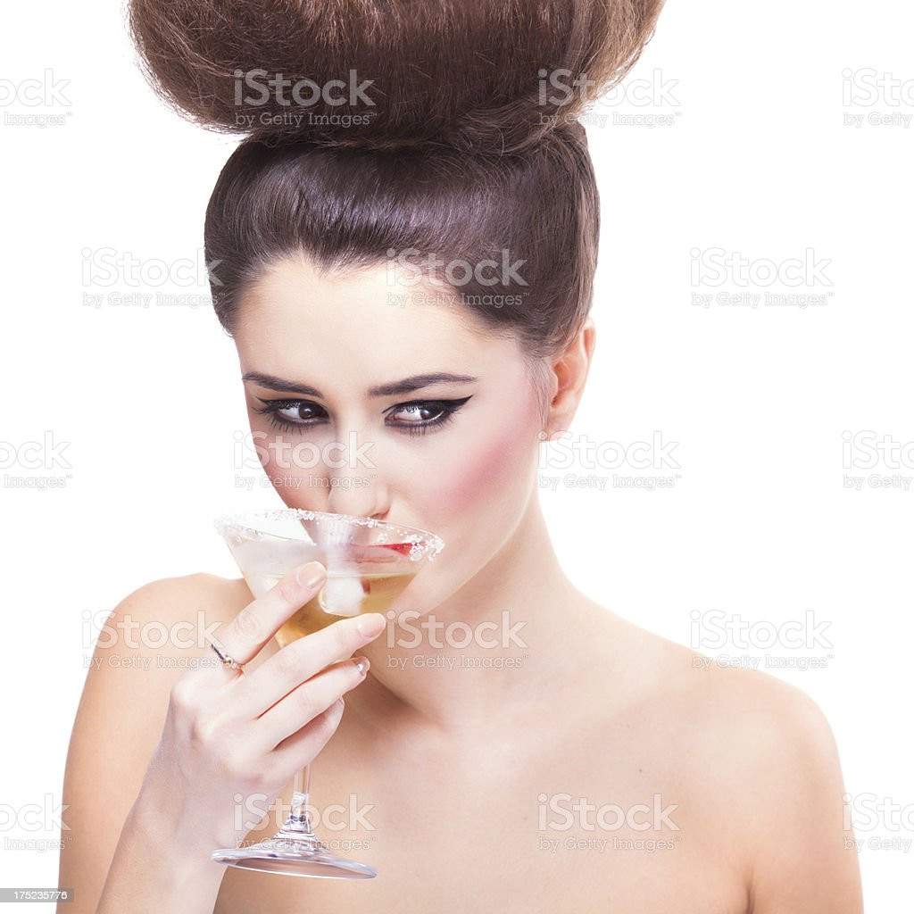 Beauty having a cocktail royalty-free stock photo