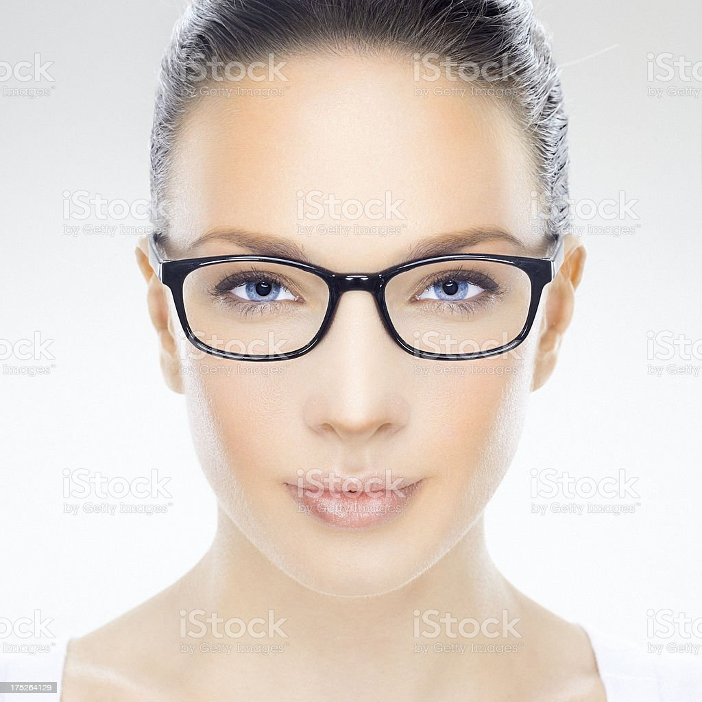 Beauty headshot of a beautiful woman with eyeglasses royalty-free stock photo