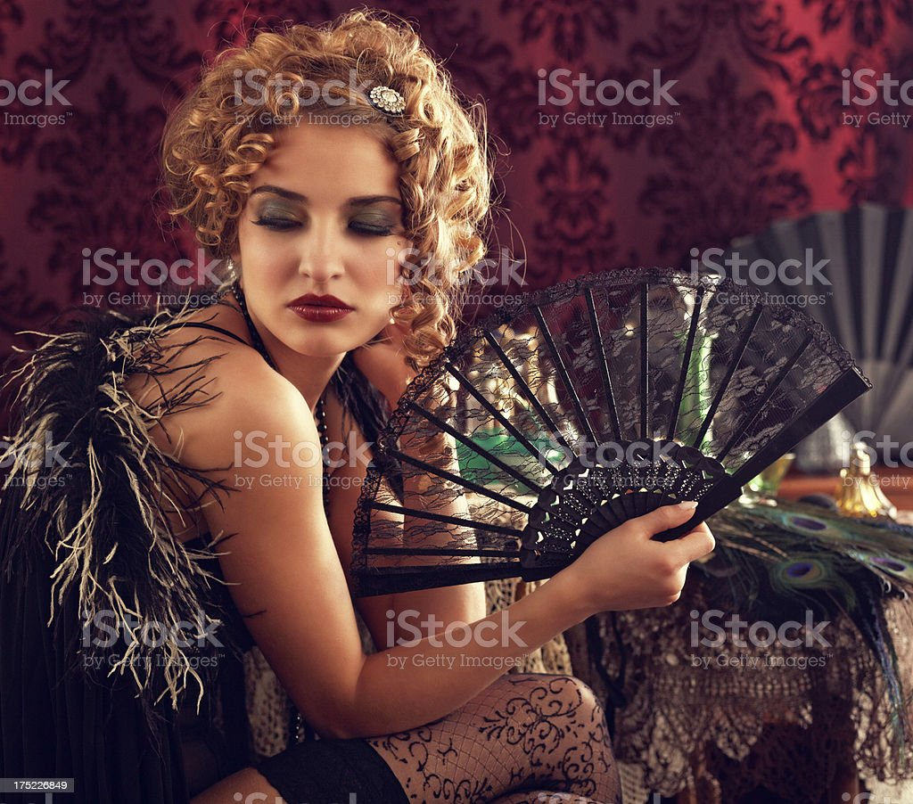 beauty holding lace fan royalty-free stock photo