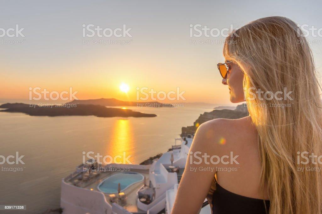 Beauty & idyllic sunset in Santorini stock photo