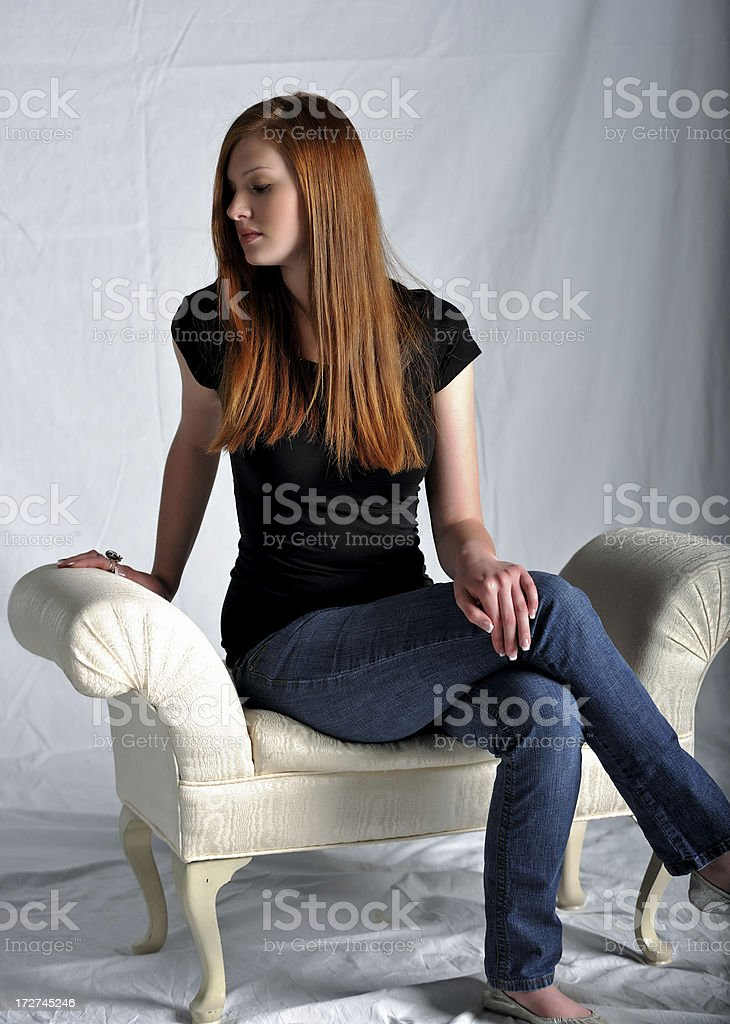 Beauty in A Chaise royalty-free stock photo