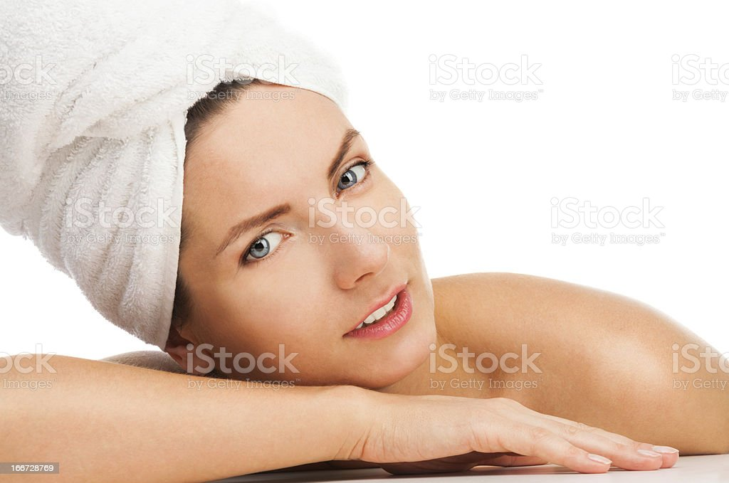 Beauty in a towel royalty-free stock photo