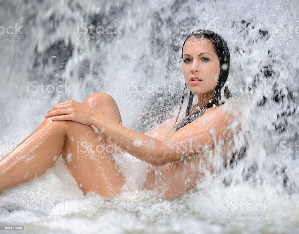 Beauty in a Waterfall Spa (XXXL) royalty-free stock photo