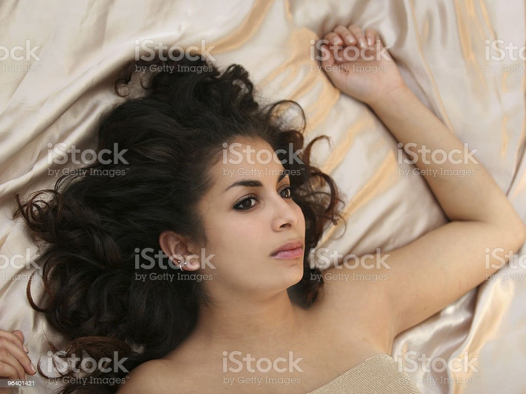 Beauty in bed royalty-free stock photo