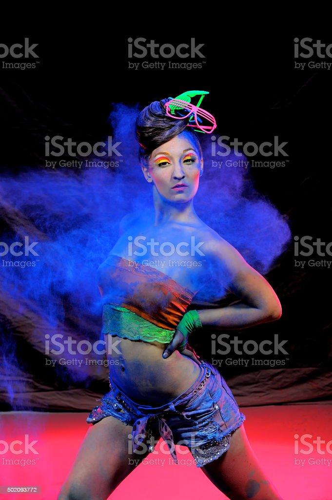 Beauty In Blue Powder three stock photo