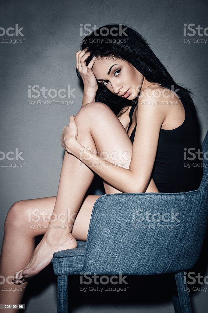 Beauty in chair. stock photo