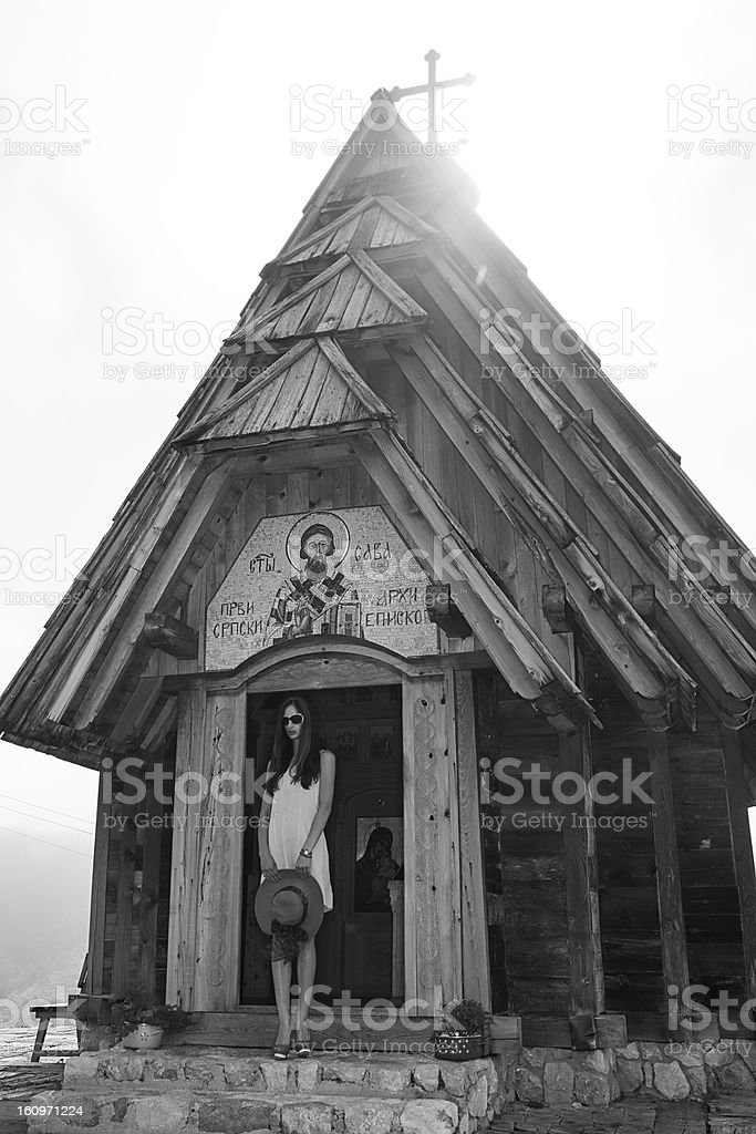 Beauty In Front Of The Church royalty-free stock photo