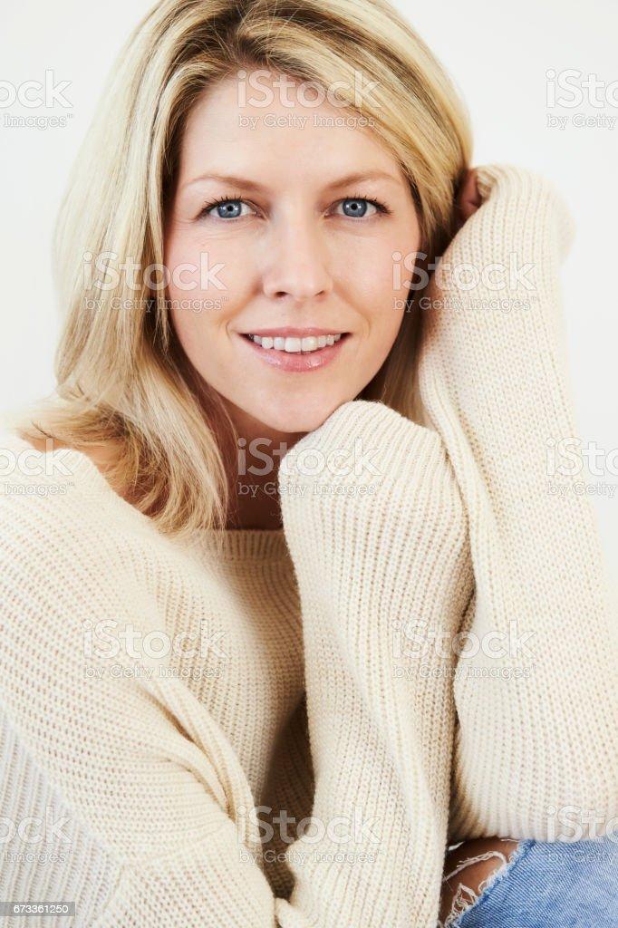 Beauty in knitwear stock photo