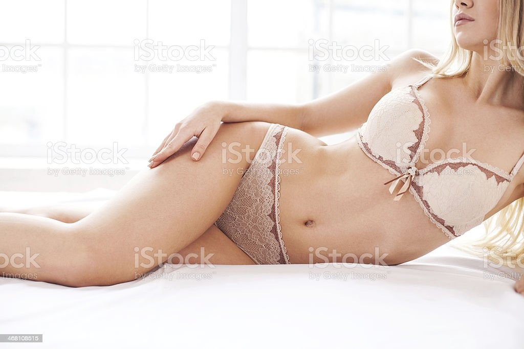 Beauty in lingerie. stock photo