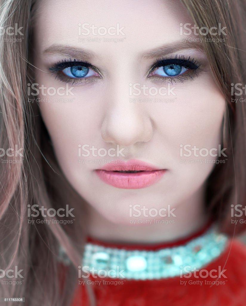 beauty in my blue eyes stock photo
