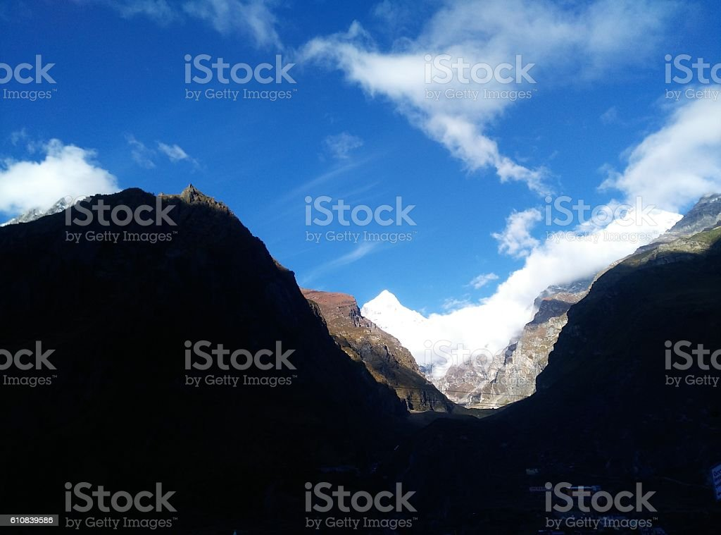 Beauty In Nature Blue Sky With White Cloud Mountain stock photo