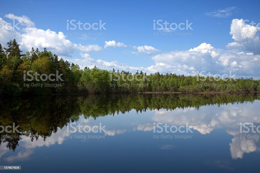 Beauty in nature lake with mirroring cloudscape and forest stock photo