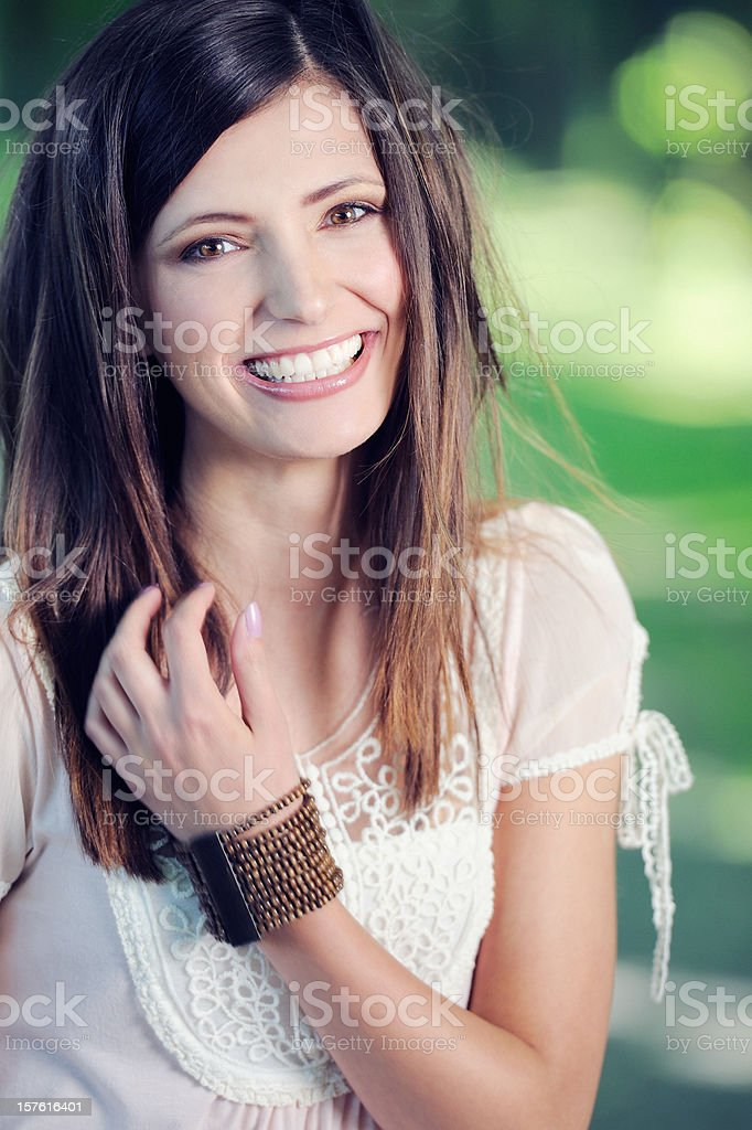 Beauty in Nature Portrait - Perfect Candid Smile royalty-free stock photo