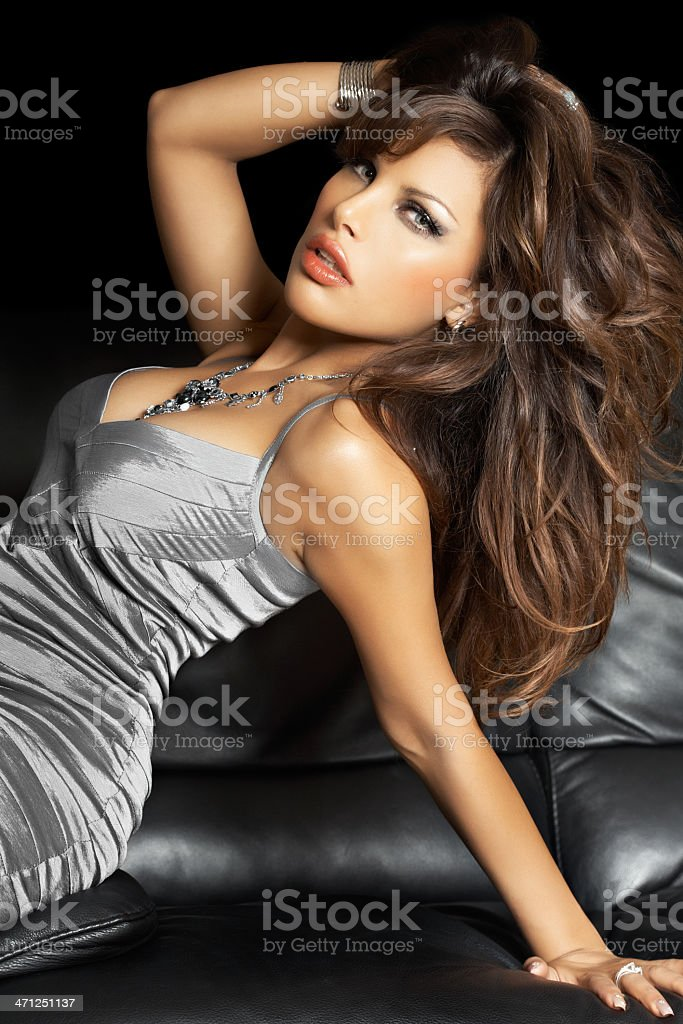 Beauty in Silver Silk royalty-free stock photo