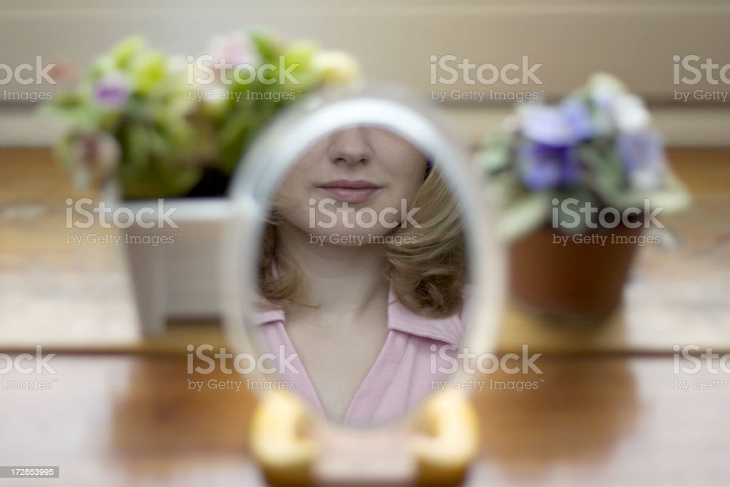 Beauty in the mirror stock photo
