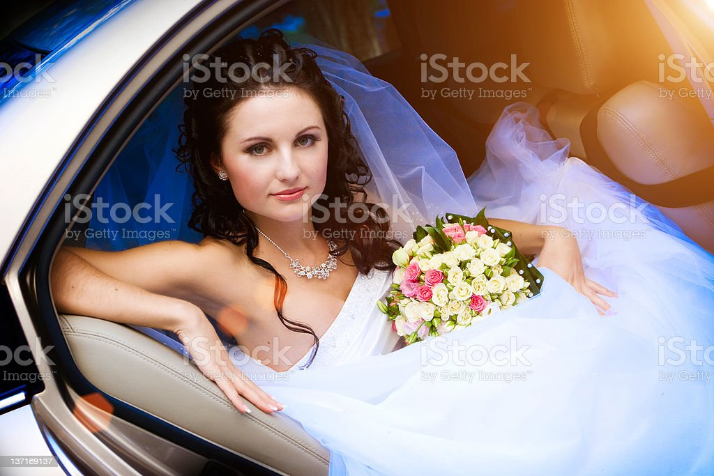 beauty in the wedding car royalty-free stock photo