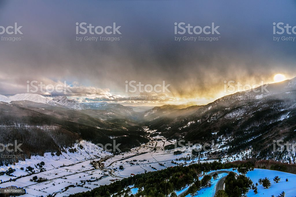 beauty in the winter mountains stock photo
