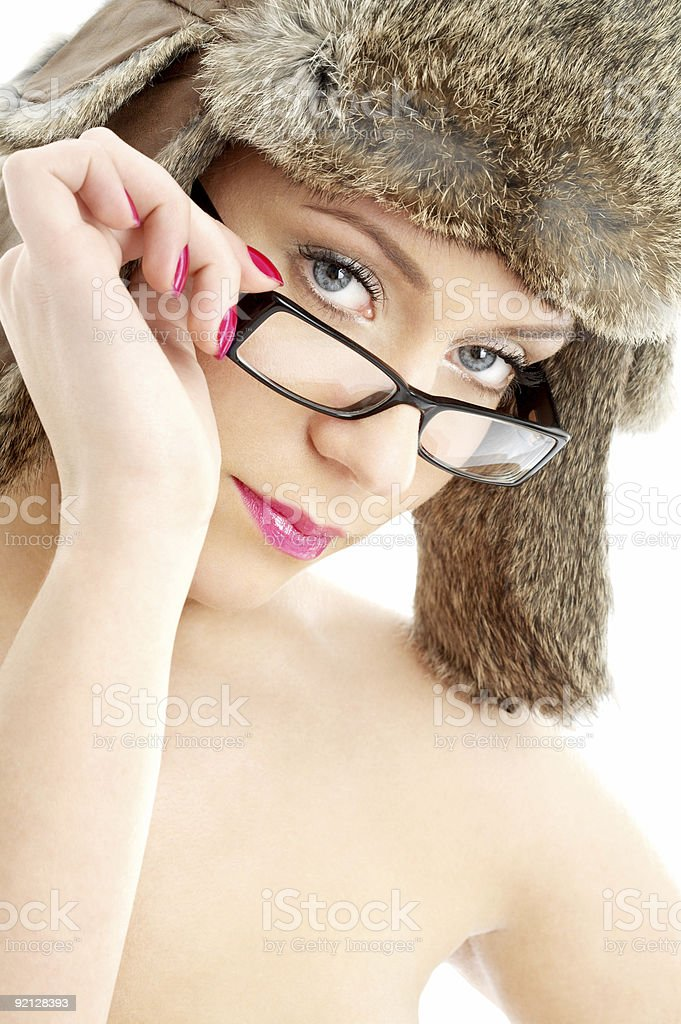 beauty in winter hat and eyeglasses royalty-free stock photo