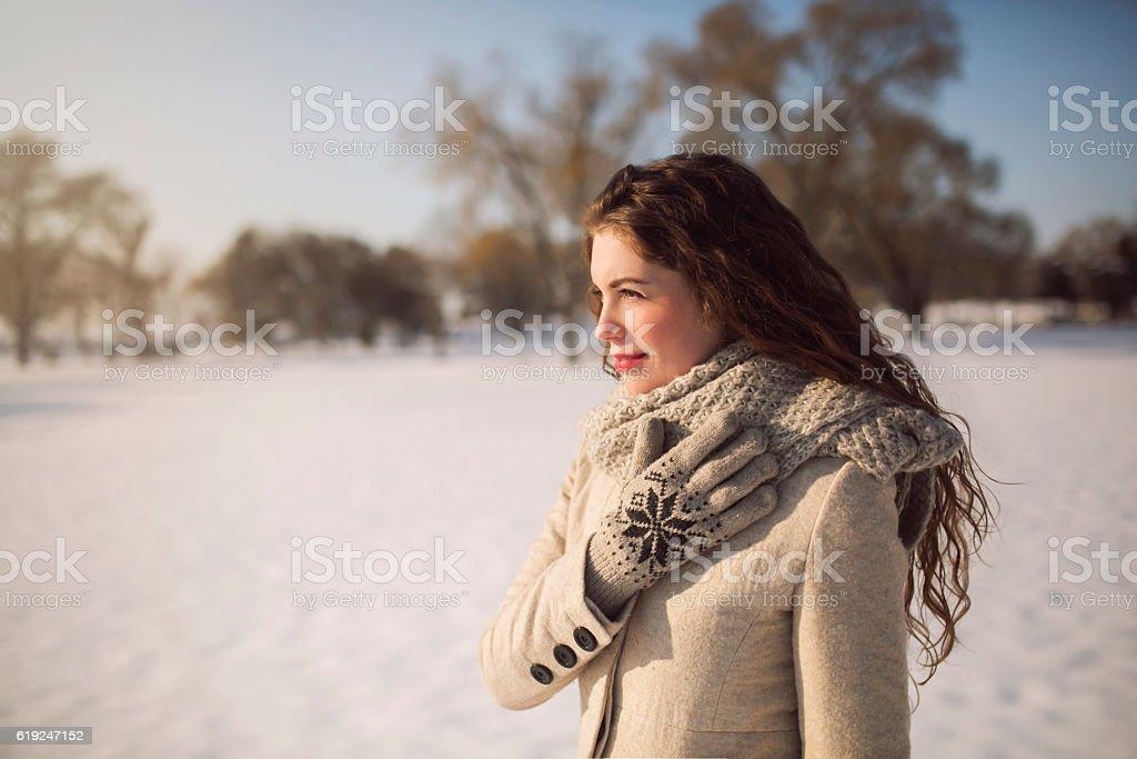Beauty in winter walk stock photo