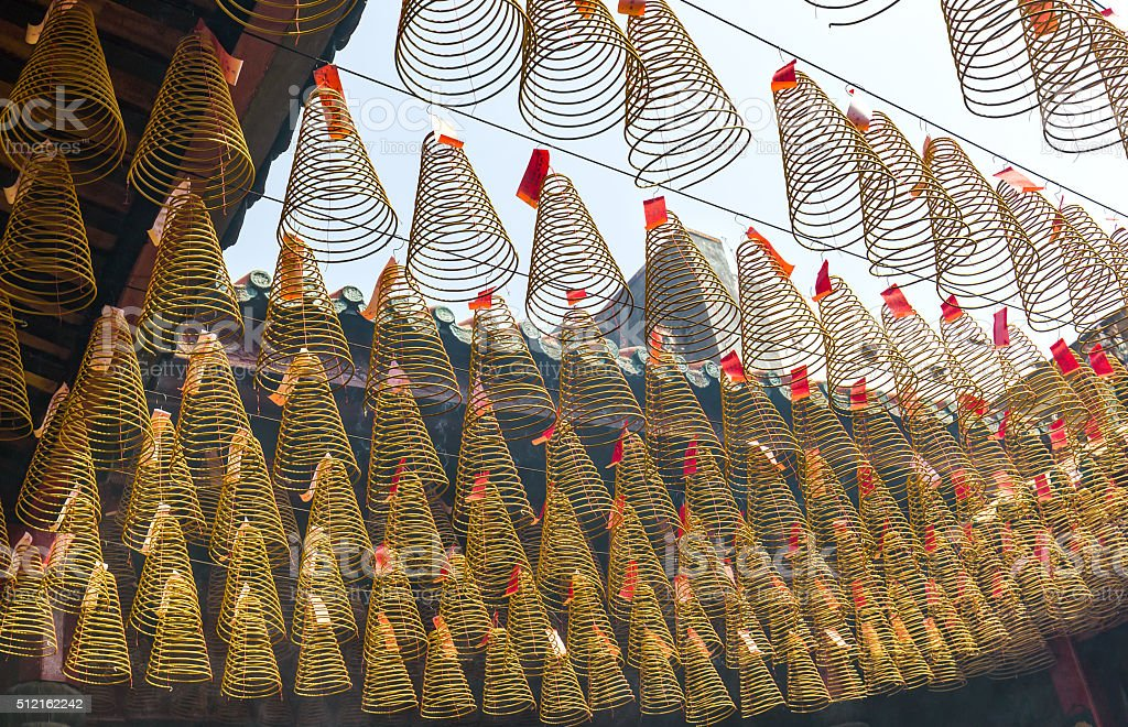 Beauty incense temple path during Lunar New Year Day stock photo