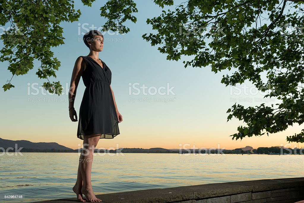 Beauty infront sunset at lake of contance stock photo