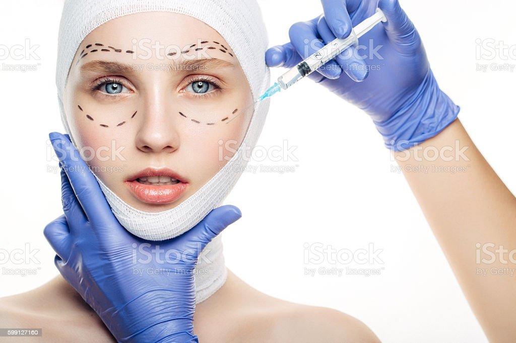 Beauty injections procedure stock photo