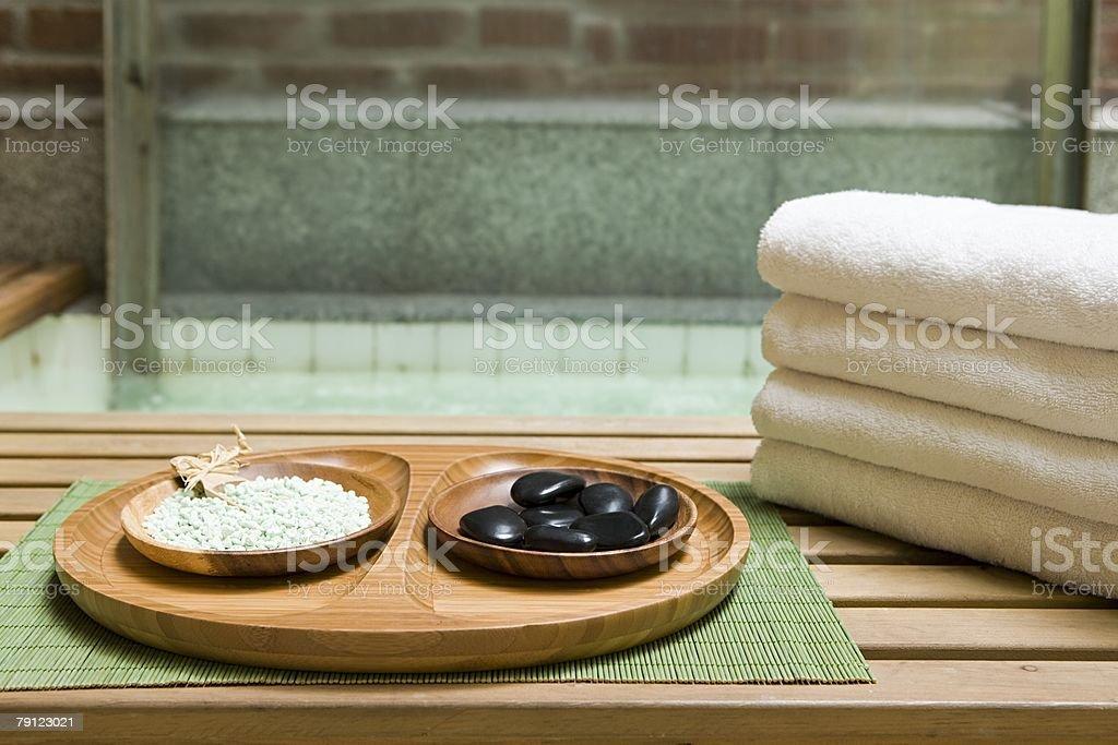 Beauty items at a health spa royalty-free stock photo