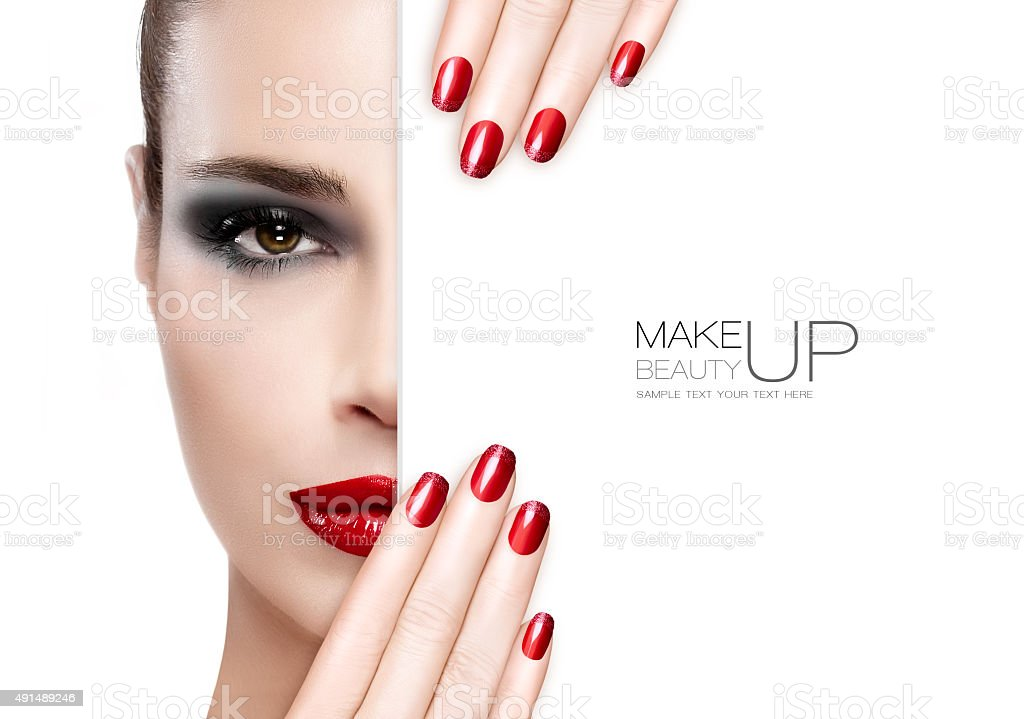 Beauty Makeup and Nail Art Concept stock photo