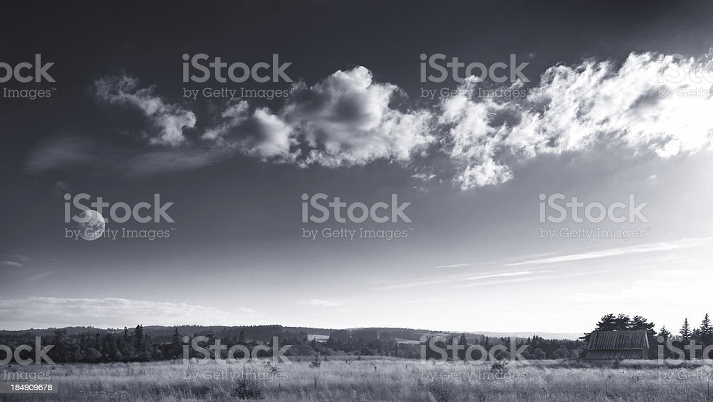 Beauty of Countryside B&W royalty-free stock photo